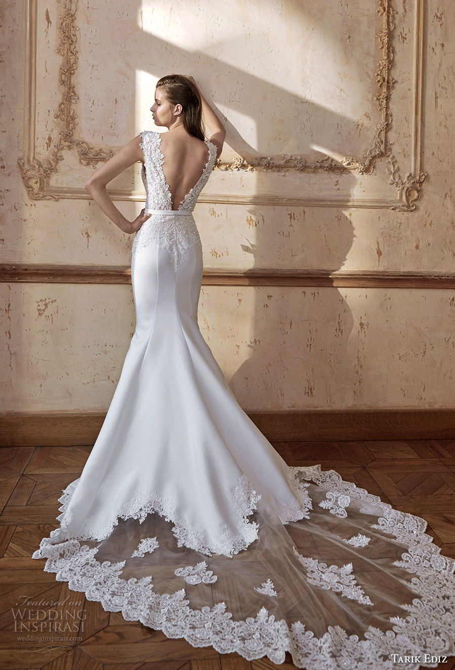 tarik ediz 2017 bridal sleevless thick strap v neck heavily embellished bodice elegant trumpet mermaid wedding dress open v back chapel train (17) bv