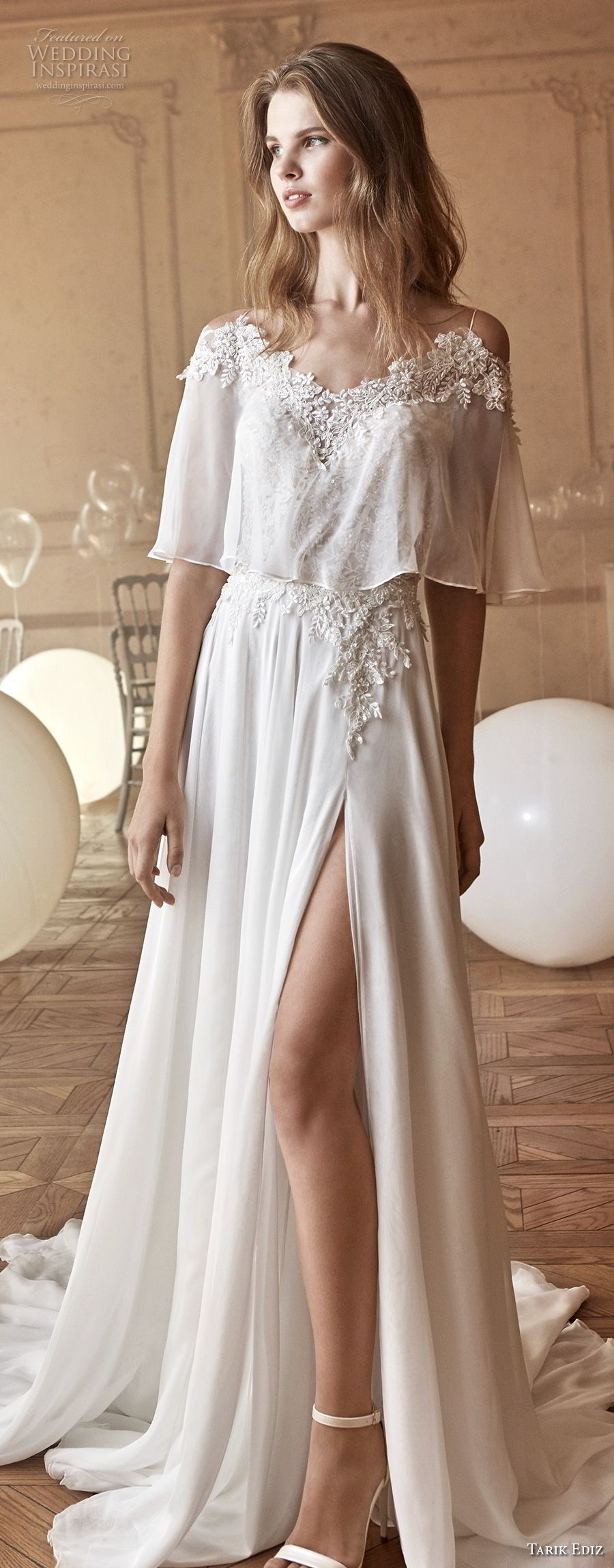 tarik ediz 2017 bridal spaghetti strap heavily embellished bodice high slit skirt romantic sexy soft a line wedding dress chapel train (21) mv