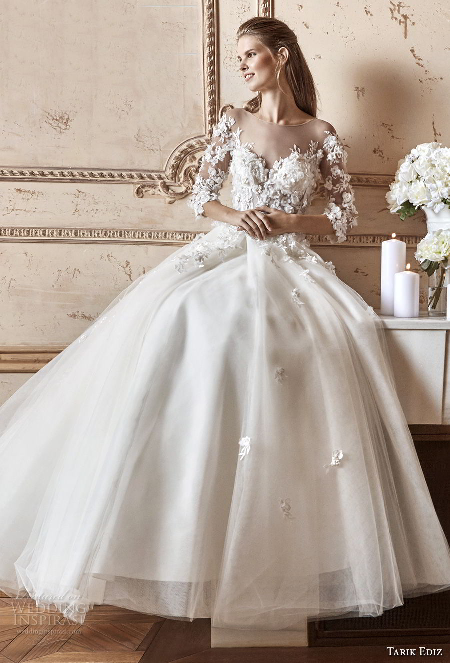 tarik ediz 2017 bridal three quarter sleeves illusion bateau sweetheart neckline heavily embellished bodice romantic a line wedding dress (13) mv