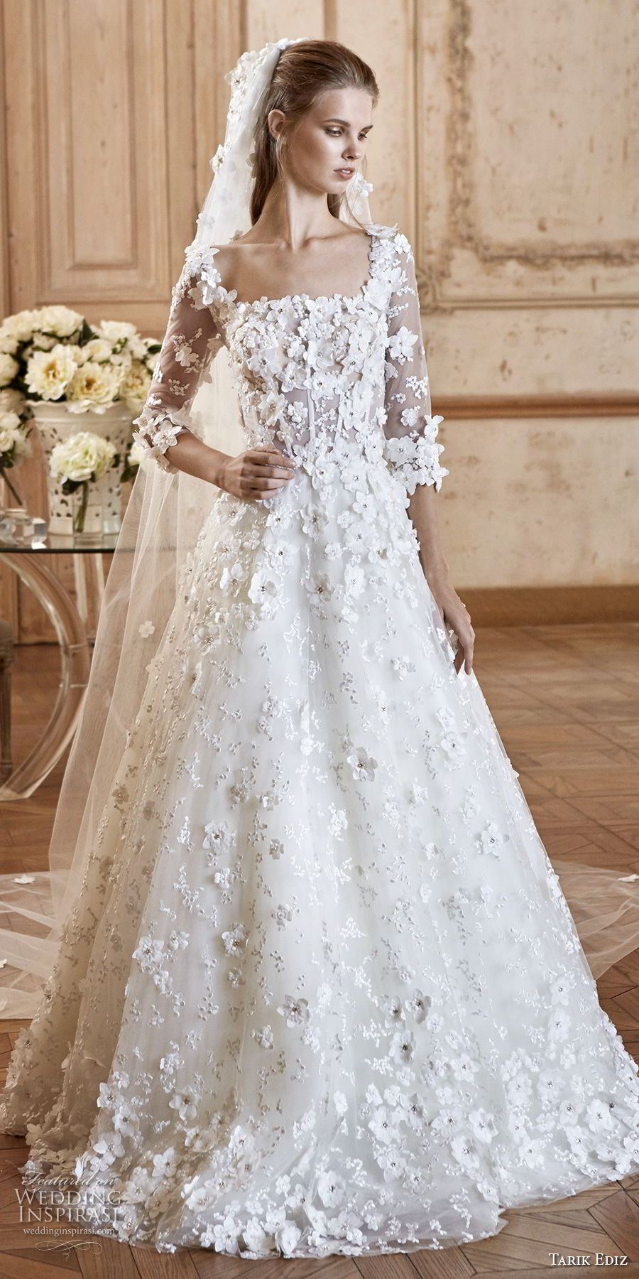 tarik ediz 2017 bridal three quarter sleeves square neckline full embellishment romantic a line wedding dress (20) mv