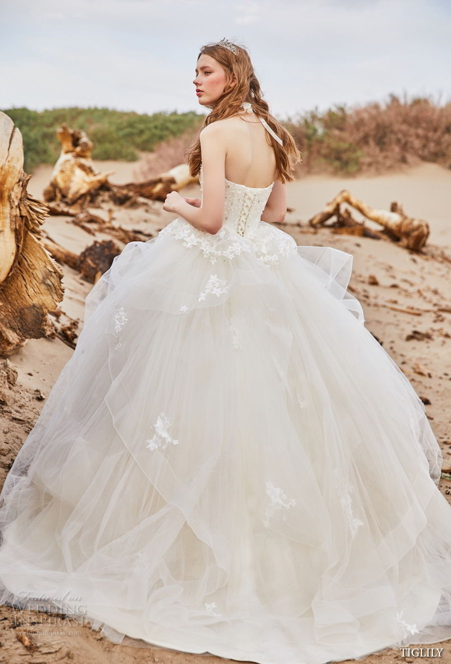 tiglily 2018 bridal strapless heavily embellished bodice tulle skirt princess ball gown a line wedding dress sweep train (aluke) mv