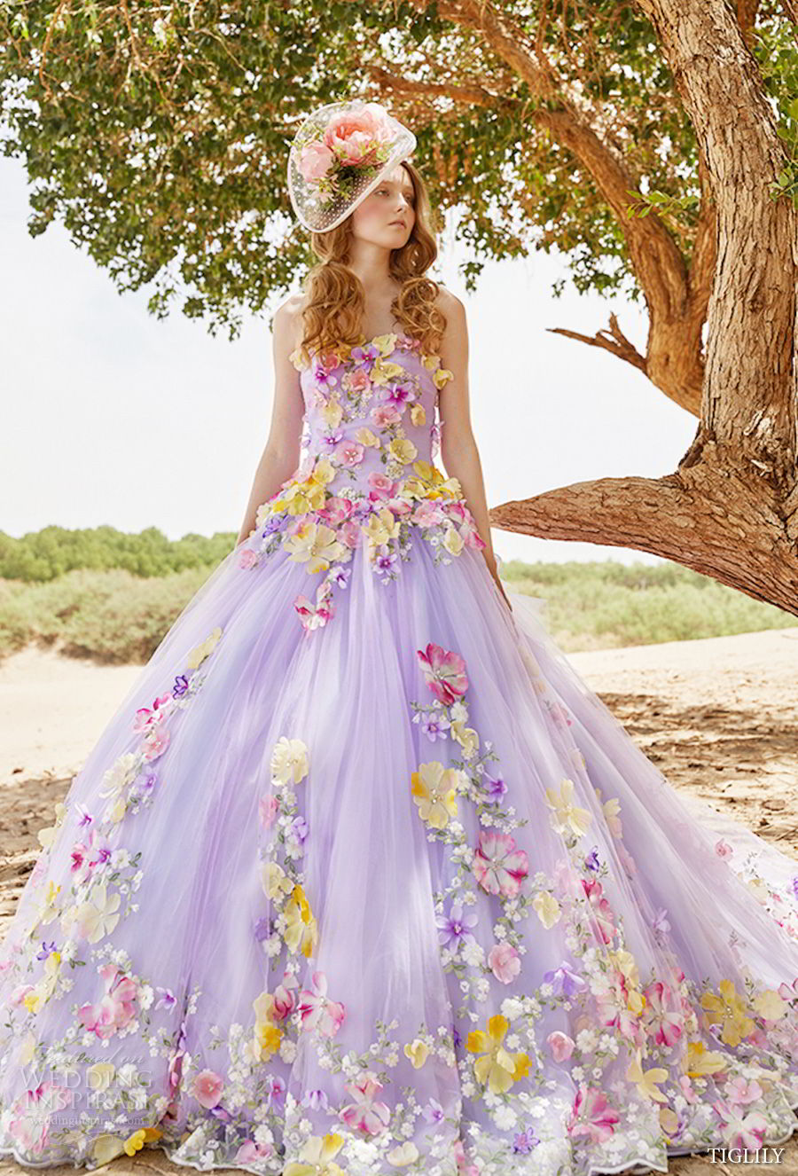 tiglily 2018 bridal strapless semi sweetheart neckline full embellishment princess purple color ball gown a line wedding dress (vivian) mv