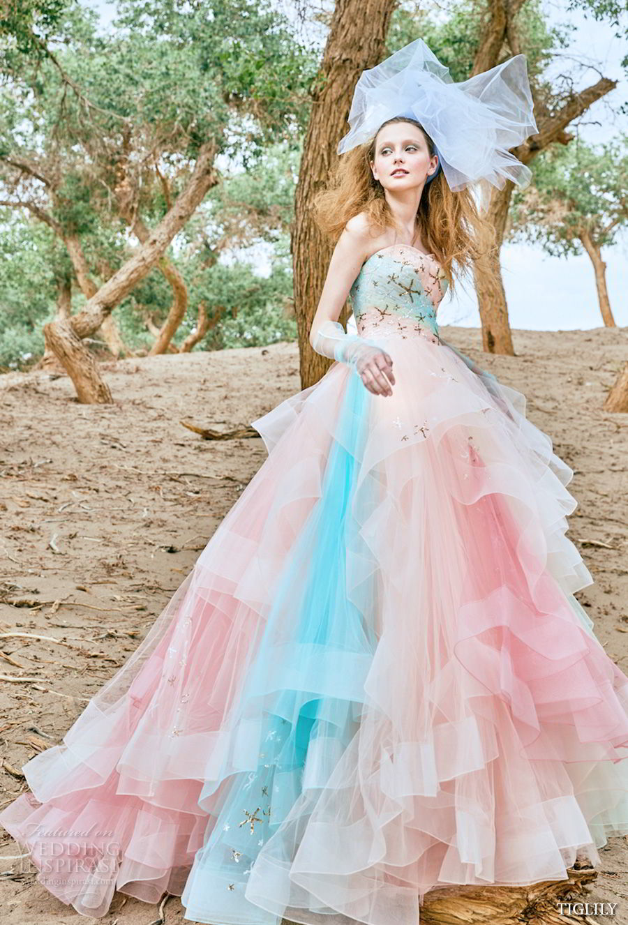 tiglily 2018 bridal strapless sweetheart neckline heavily embellished bodice layered tulle skirt pastel pink multicolor ball gown a line wedding dress (shaula) mv