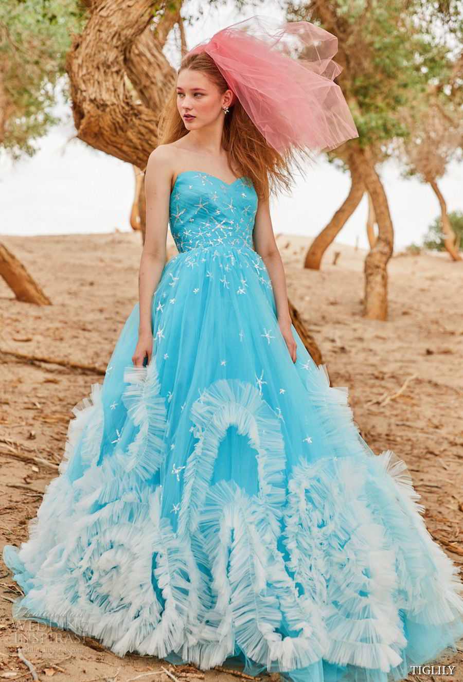 tiglily 2018 bridal strapless sweetheart neckline heavily embellished bodice princess romantic cyan color ball gown a line wedding dress (elna) mv