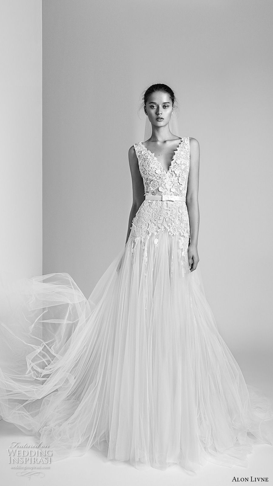 alon livne 2018 bridal sleeveless v neck heavily embellished bodice tulle skirt romanitc a line wedding dress (1) mv