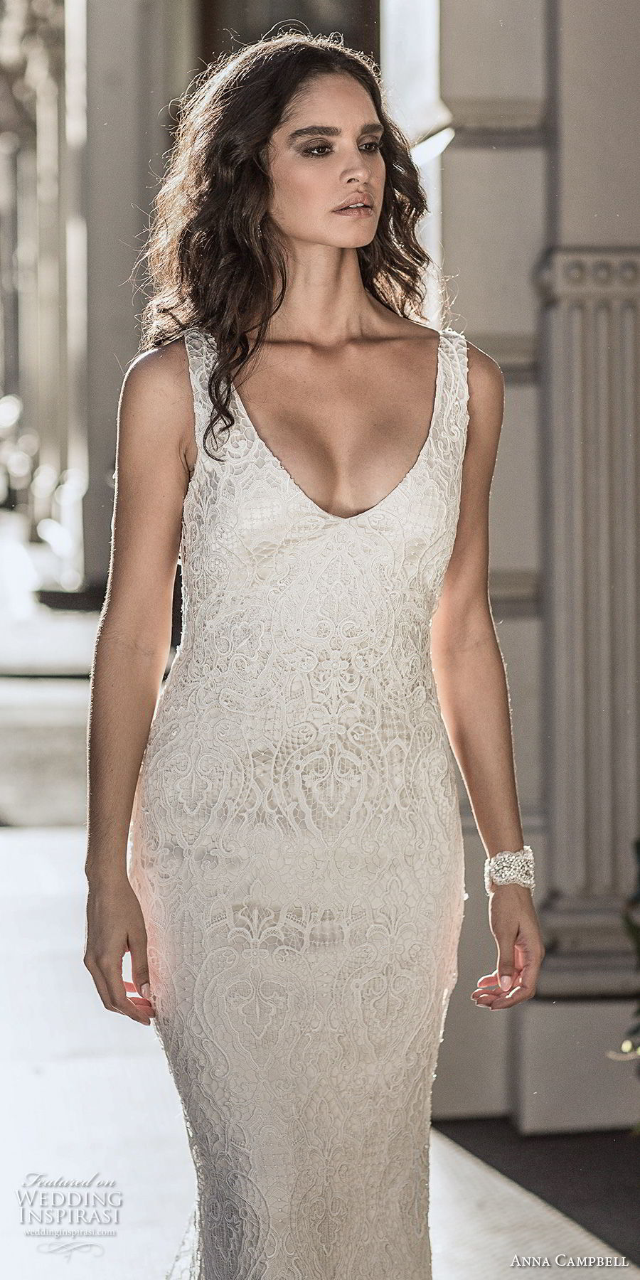 anna campbell fall 2018 bridal sleeveless v neck full embellishment elegant sheath wedding dress open v back sweep train (5) zv