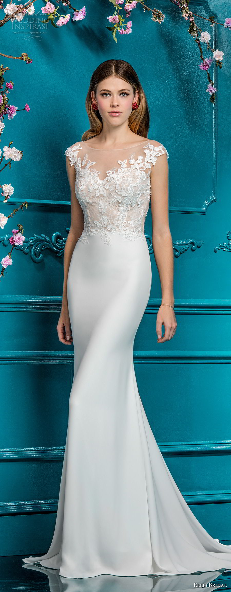 ellis bridals 2018 cap sleeves illusion bateau sweetheart neckline heavily embellished bodice elegant fit and flare wedding dress sheer button back chapel train (9) mv