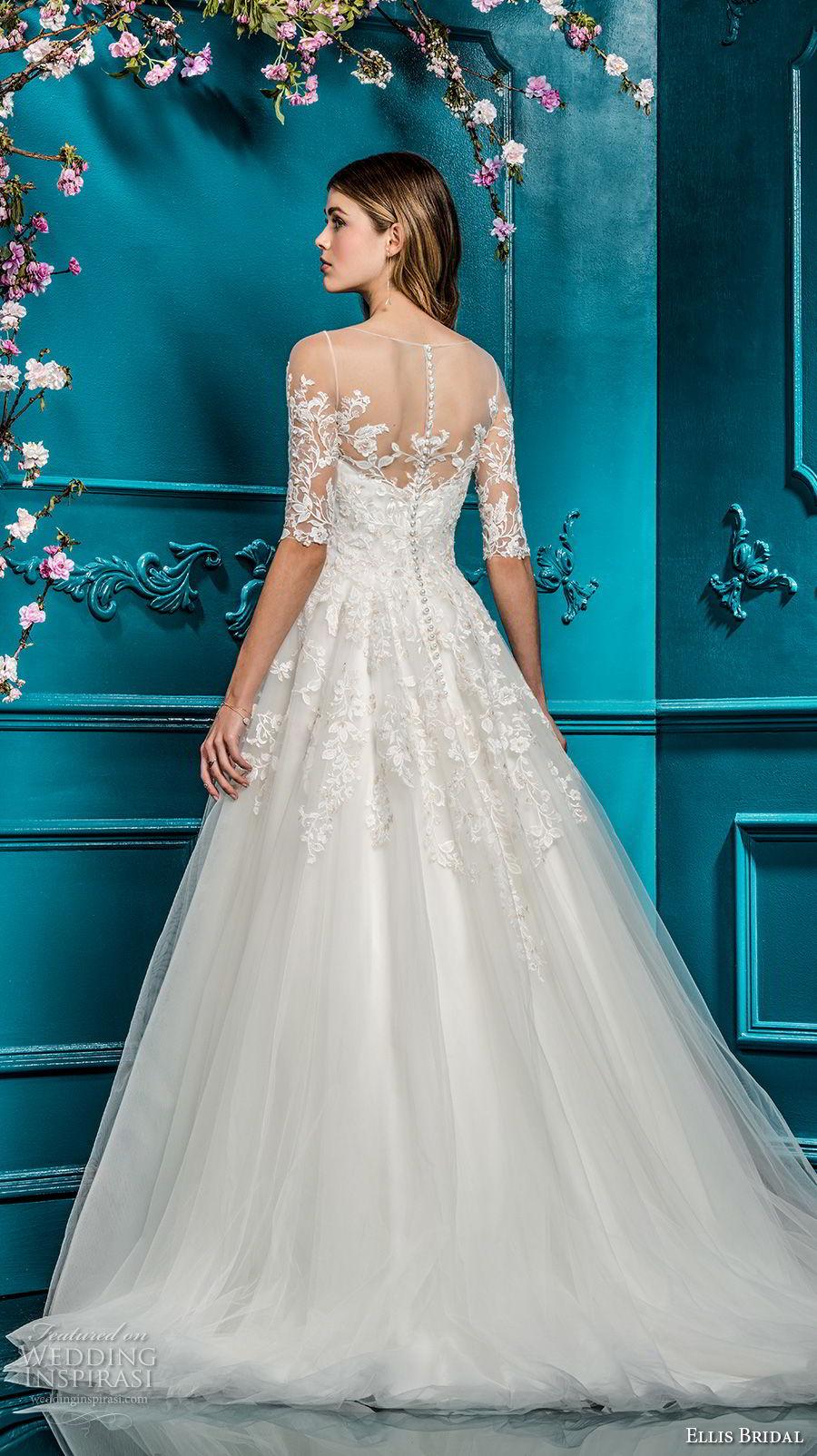 ellis bridals 2018 half sleeves illusion bateau neck sweetheart neckline heavily embellished romantic a  line wedding dress sheer button back chapel train (18) bv