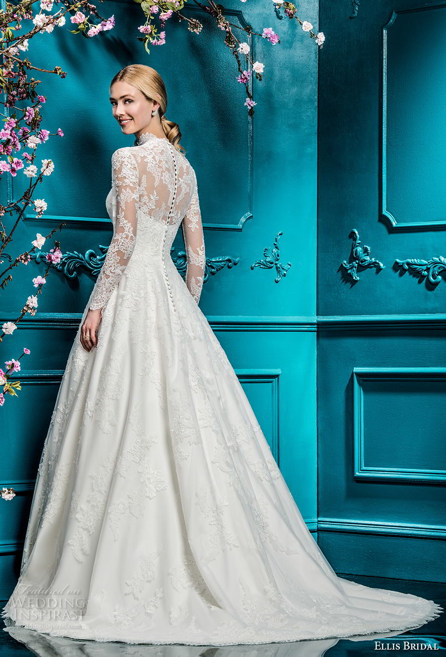 ellis bridals 2018 long sleeves illusion high neck sweetheart neckline full embellishment elegant princess a line wedding dress covered lace back chapel train (2) bv