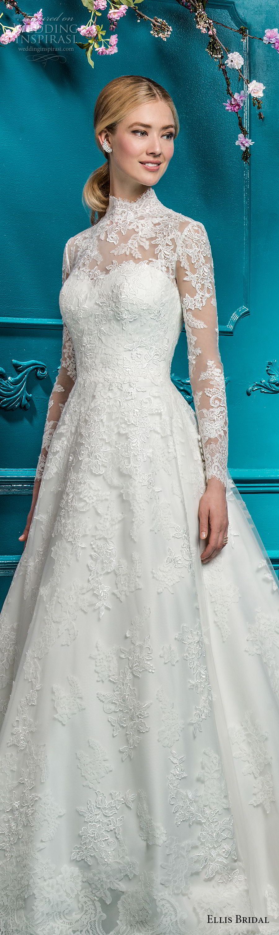 ellis bridals 2018 long sleeves illusion high neck sweetheart neckline full embellishment elegant princess a  line wedding dress covered lace back chapel train (2) lv