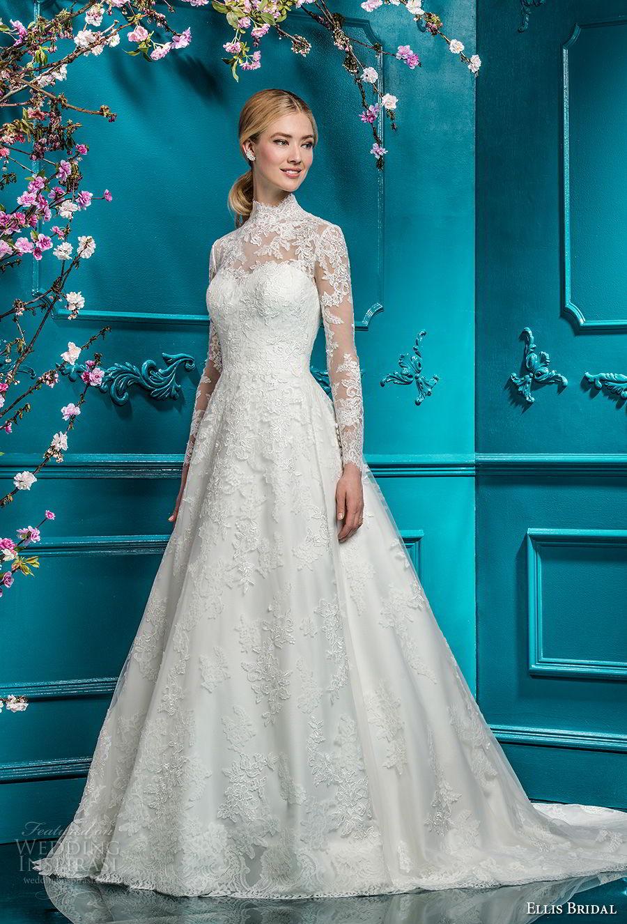 ellis bridals 2018 long sleeves illusion high neck sweetheart neckline full embellishment elegant princess a  line wedding dress covered lace back chapel train (2) mv