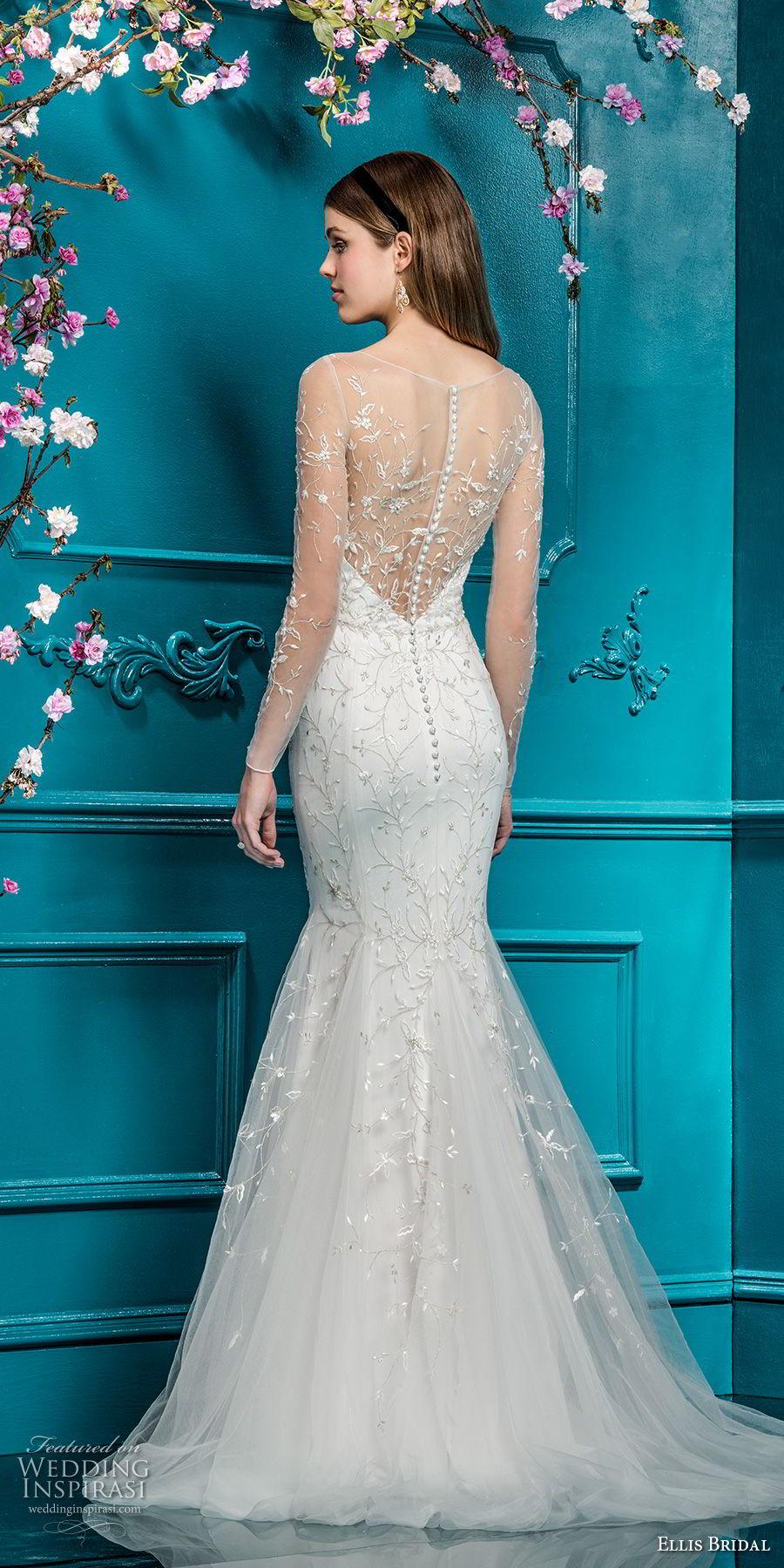ellis bridals 2018 long sleeves illusion jewel sweetheart neckline heavily embellished bodice elegant mermaid wedding dress sheer back sweep train (17) bv