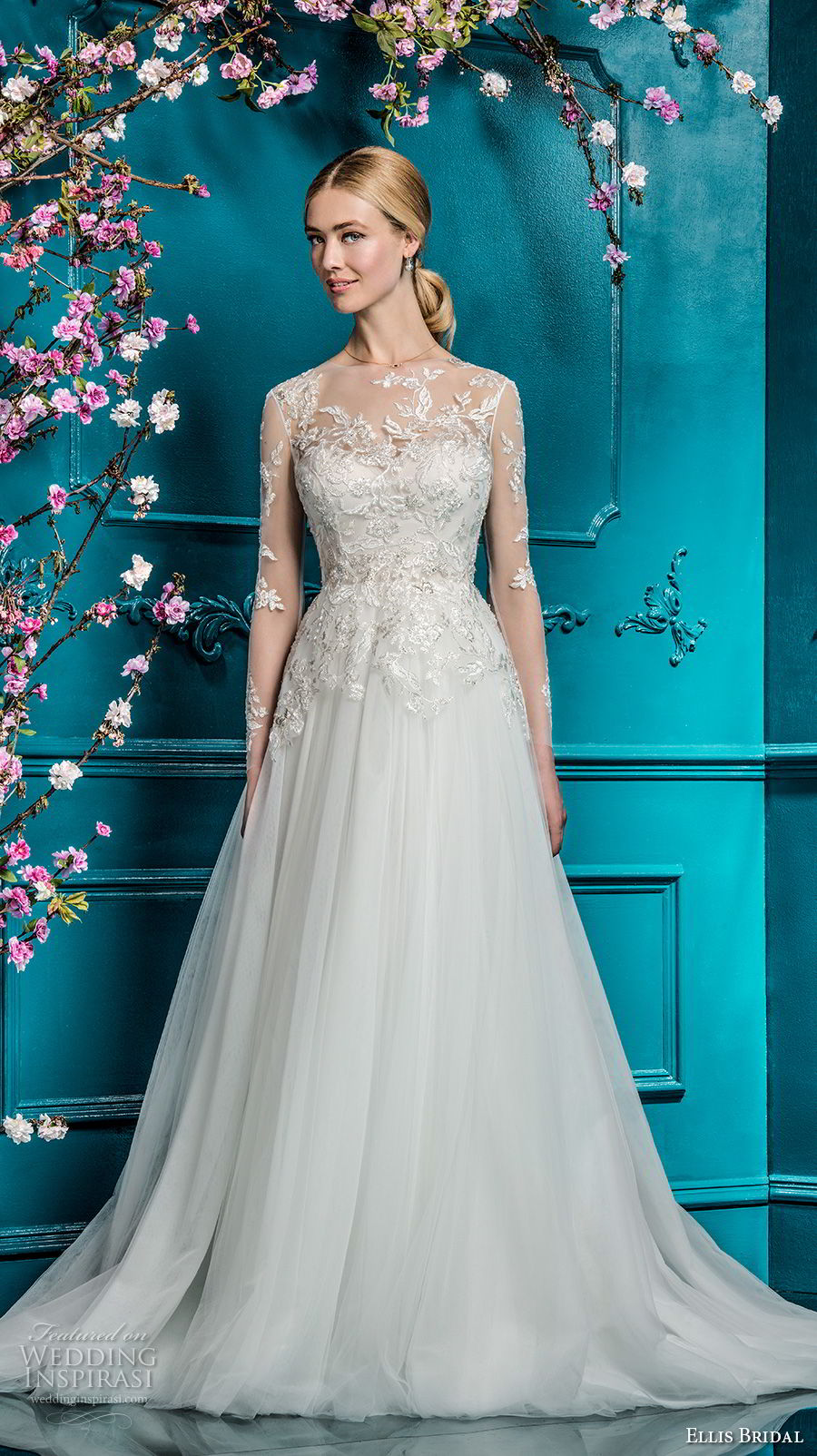 ellis bridals 2018 long sleeves illusion jswel sweetheart neckline heavily embellished bodice tulle skirt romantic a line wedding dress covered lace back chapel train (13) mv