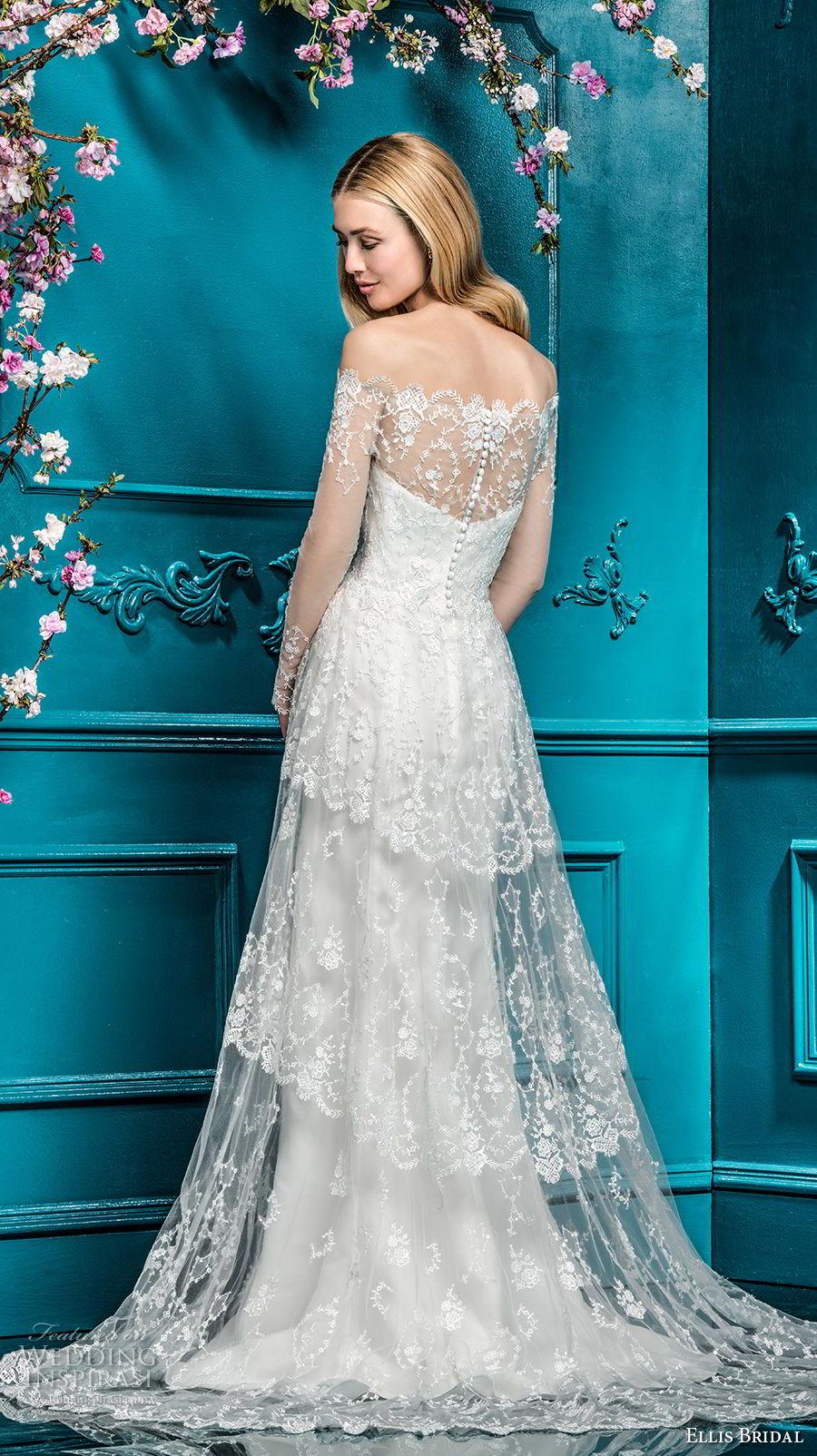 ellis bridals 2018 long sleeves off the shoulder sweetheart neckline full embellishment elegant romantic a line wedding dress lace back chapel train (7) bv
