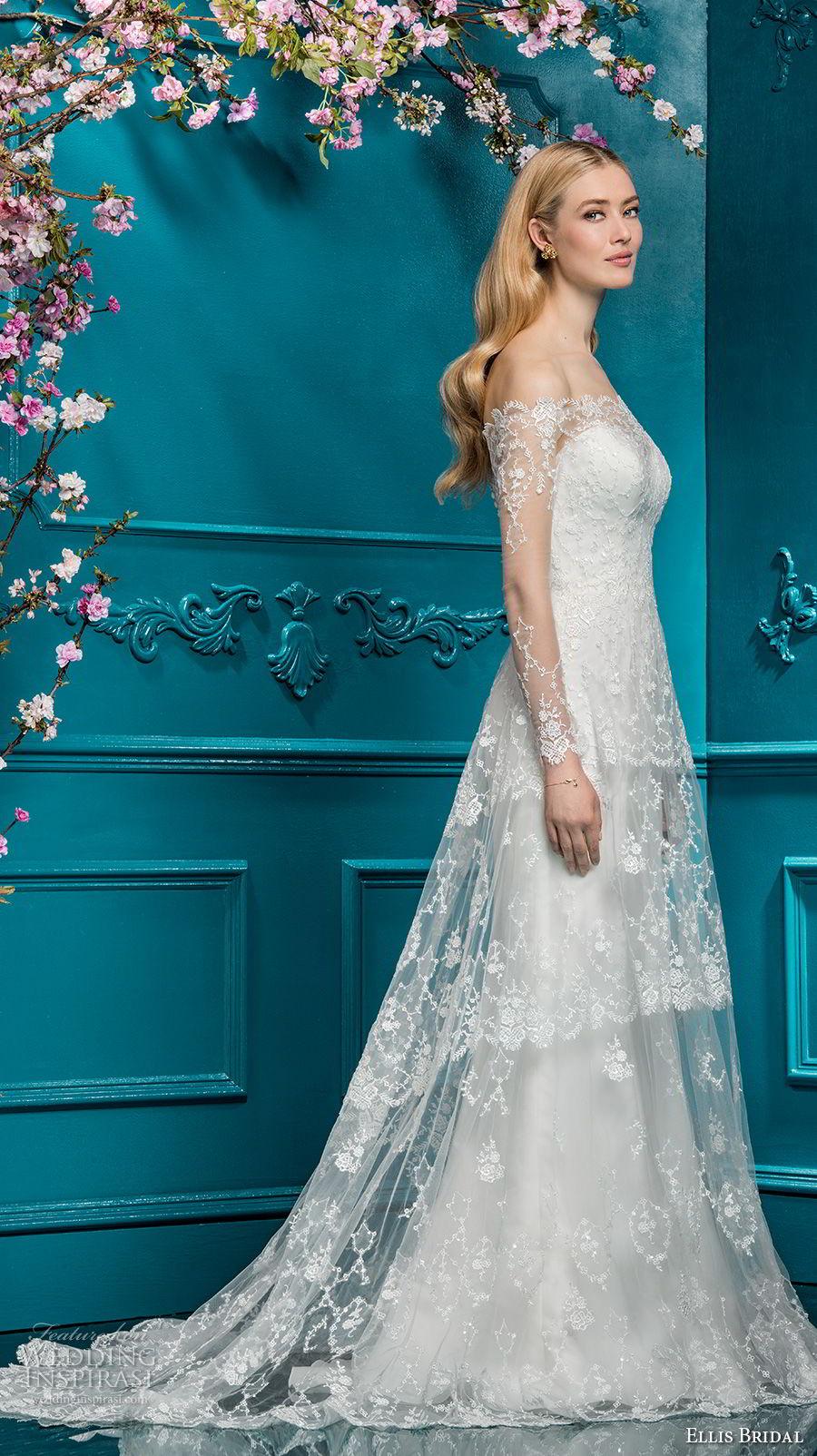 ellis bridals 2018 long sleeves off the shoulder sweetheart neckline full embellishment elegant romantic a line wedding dress lace back chapel train (7) mv