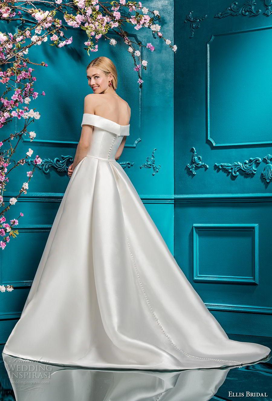 ellis bridals 2018 off the shoulder straight across simple clean bodice satin skirt elegant romantic a line wedding dress pockets chapel train (12) bv
