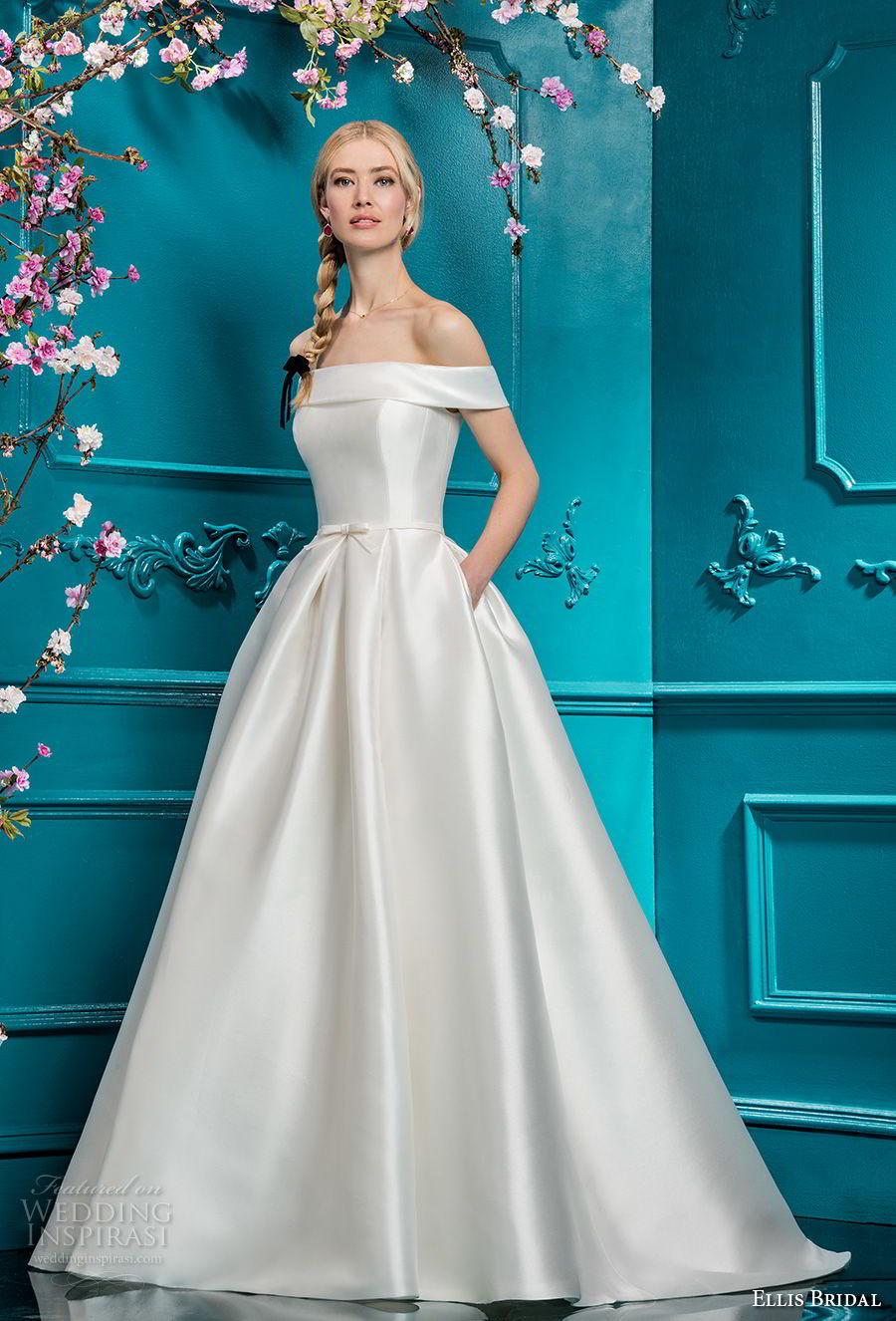 ellis bridals 2018 off the shoulder straight across simple clean bodice satin skirt elegant romantic a  line wedding dress pockets chapel train (12) mv