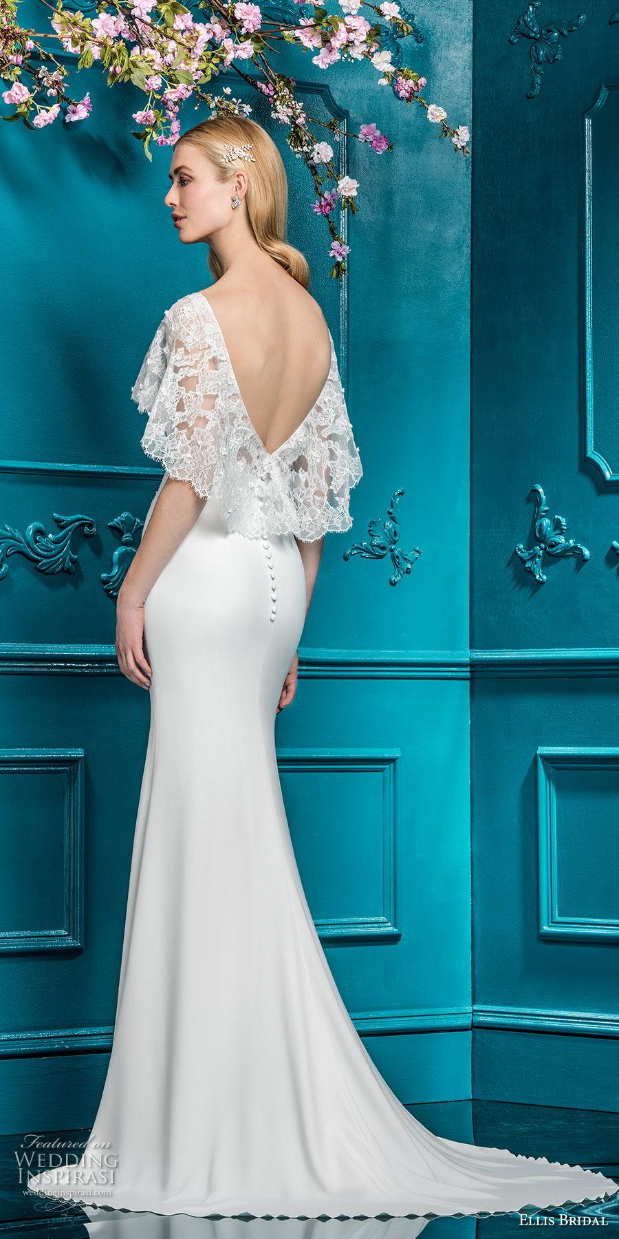 ellis bridals 2018 short flutter sleeves illusion boat sweetheart neckline heavily embellished bodice elegant sheath wedding dress open v back sweep train (14) bv