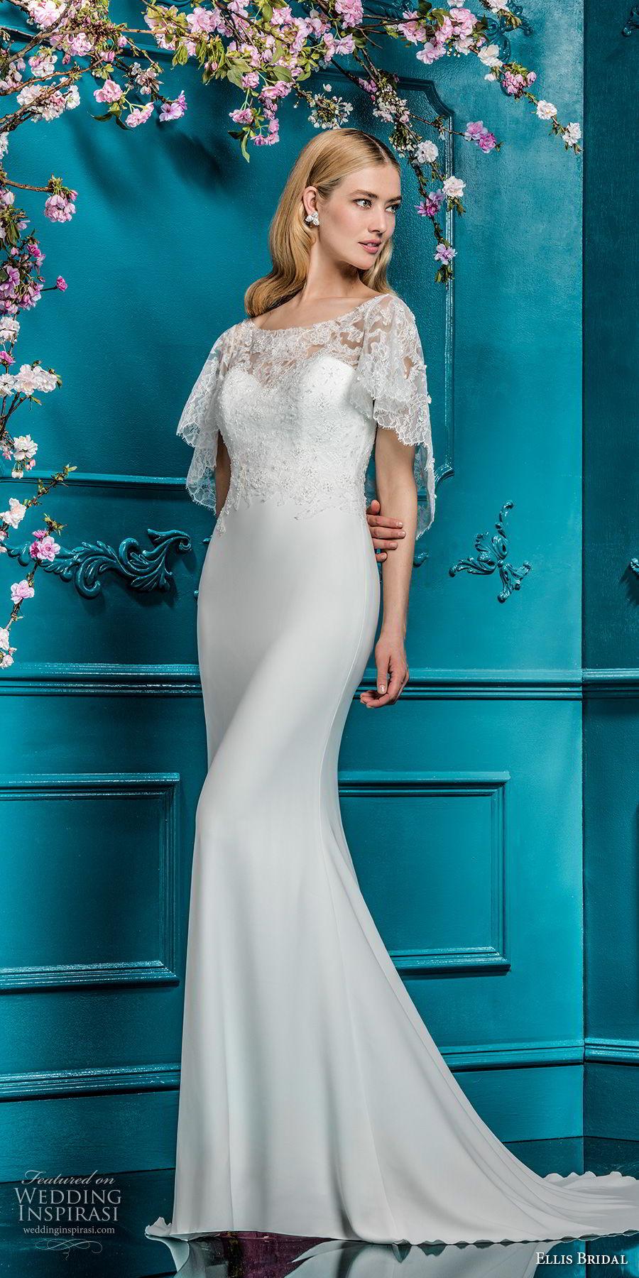 ellis bridals 2018 short flutter sleeves illusion boat sweetheart neckline heavily embellished bodice elegant sheath wedding dress open v back sweep train (14) mv