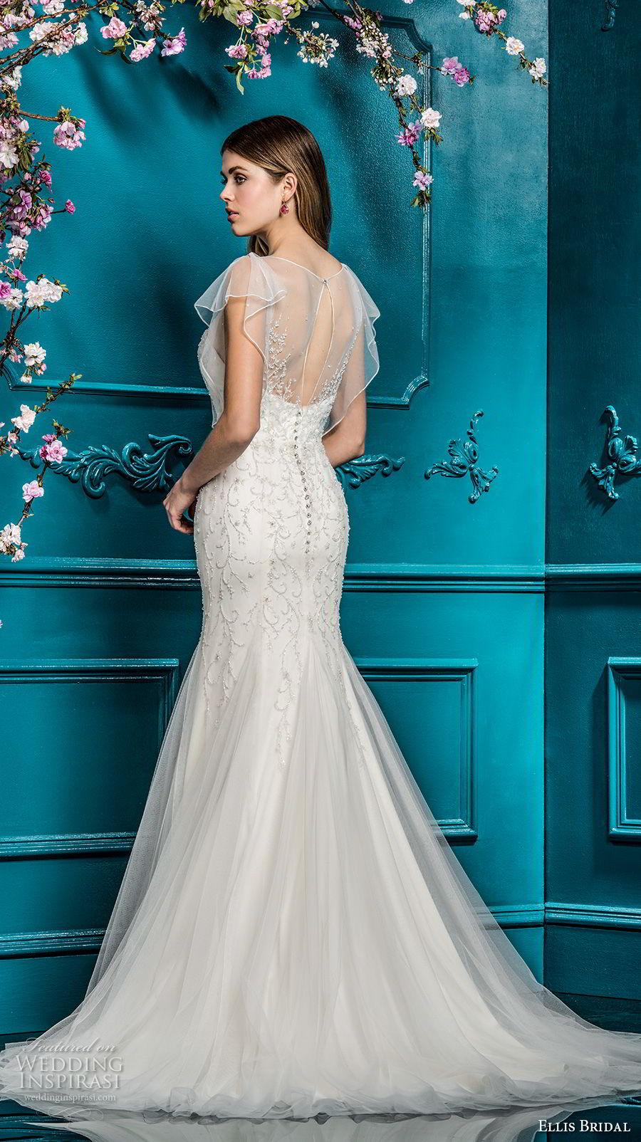 ellis bridals 2018 short flutter sleeves illusion jewel sweetheart neckline heavily embellished bodice drop waist romantic a  line wedding dress sheer back chapel train (20) bv