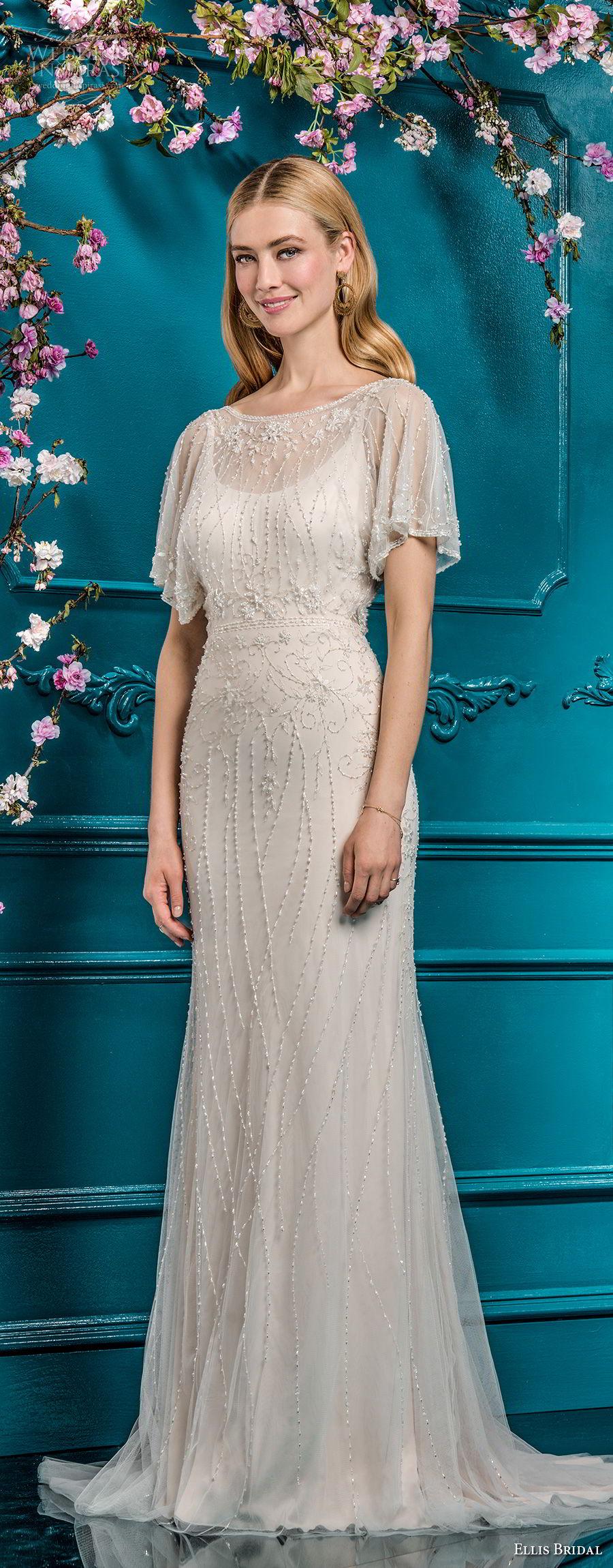 ellis bridals 2018 short sleeves illusion bateau scoop neck full beaded embellishment elegant vintage art deco sheath modified a  line wedding dress open v back sweep train (10) mv