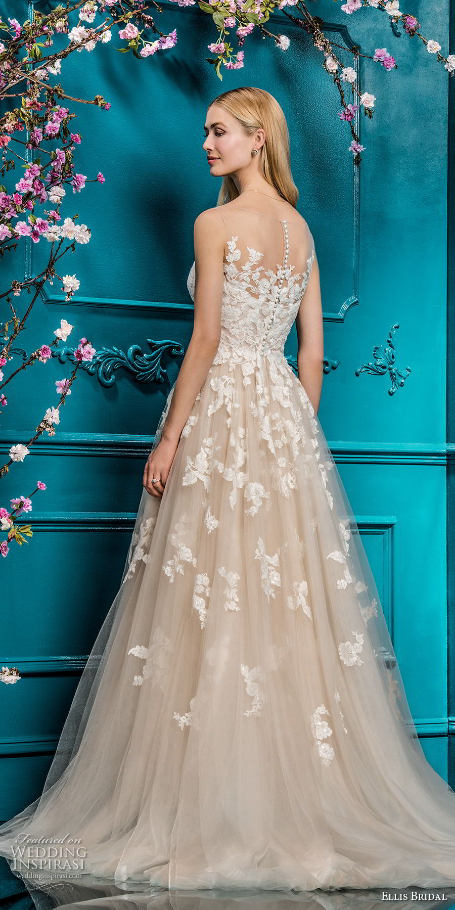 ellis bridals 2018 sleeveless illusion bateau sweetheart neckline heavily embellished bodice romantic blush color a line wedding dress sheer button back chapel train (6) bv