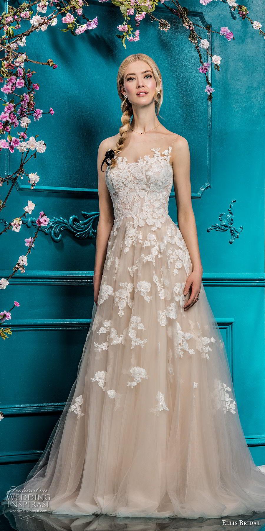 ellis bridals 2018 sleeveless illusion bateau sweetheart neckline heavily embellished bodice romantic blush color a  line wedding dress sheer button back chapel train (6) mv