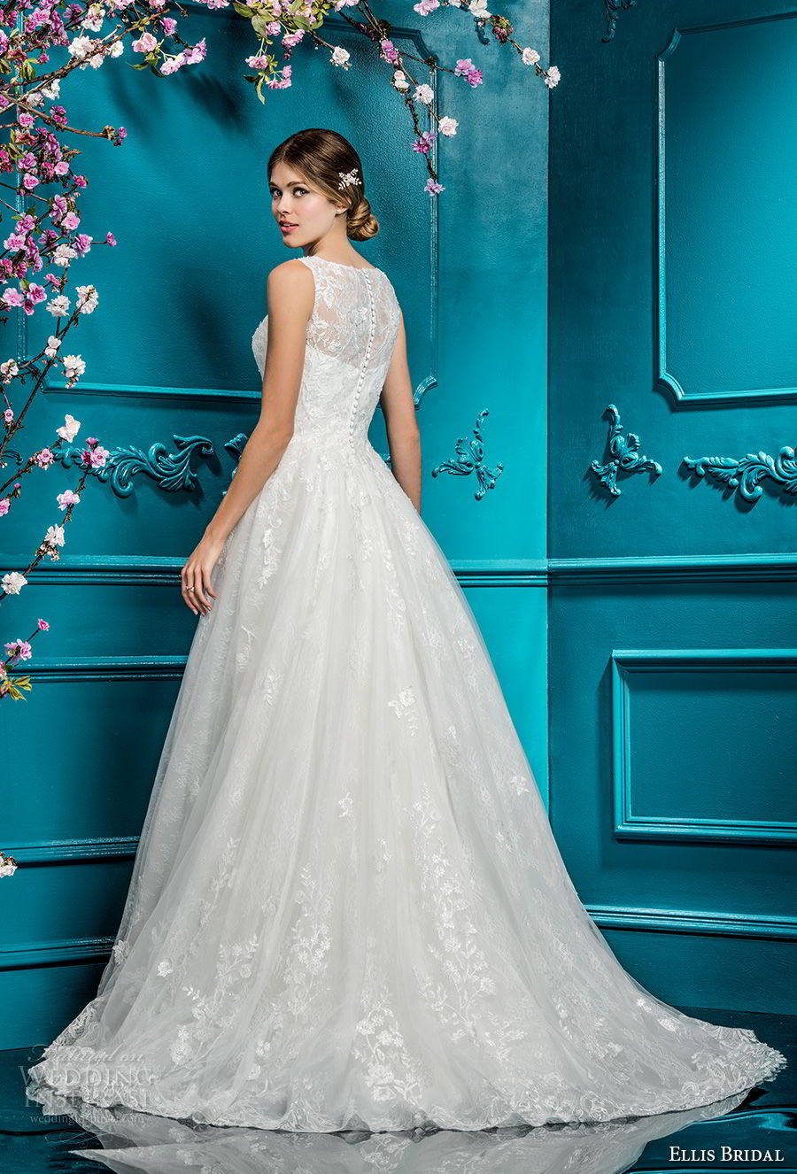ellis bridals 2018 sleeveless illusion jewel sweetheart neckline full embellishment romantic a line wedding dress covered lace back chapel train (16) bv