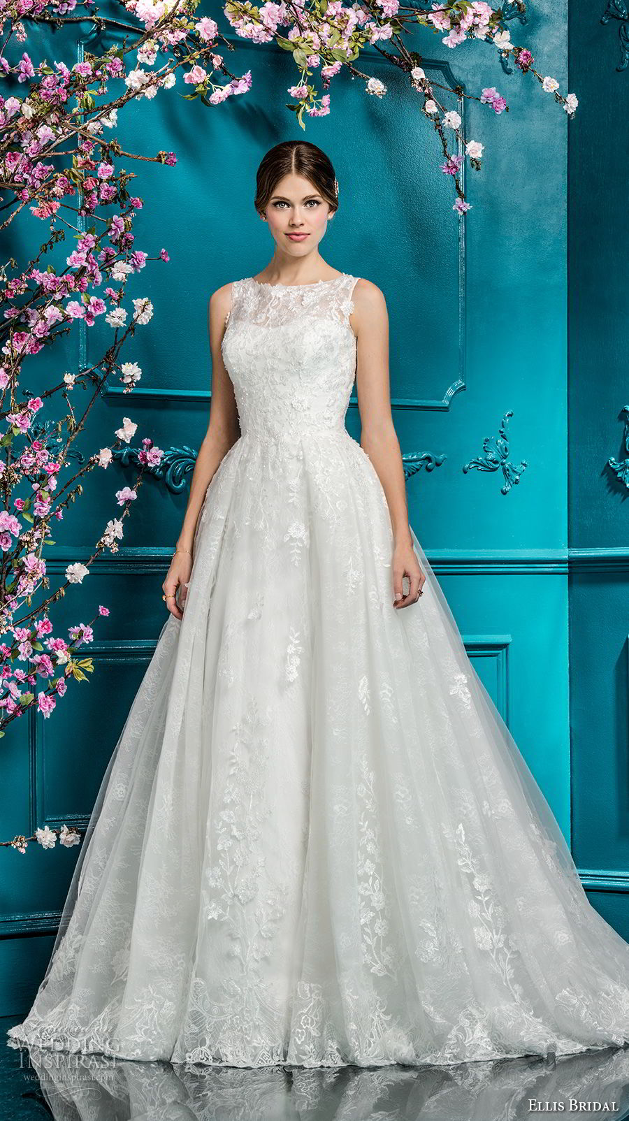 ellis bridals 2018 sleeveless illusion jewel sweetheart neckline full embellishment romantic a line wedding dress covered lace back chapel train (16) mv