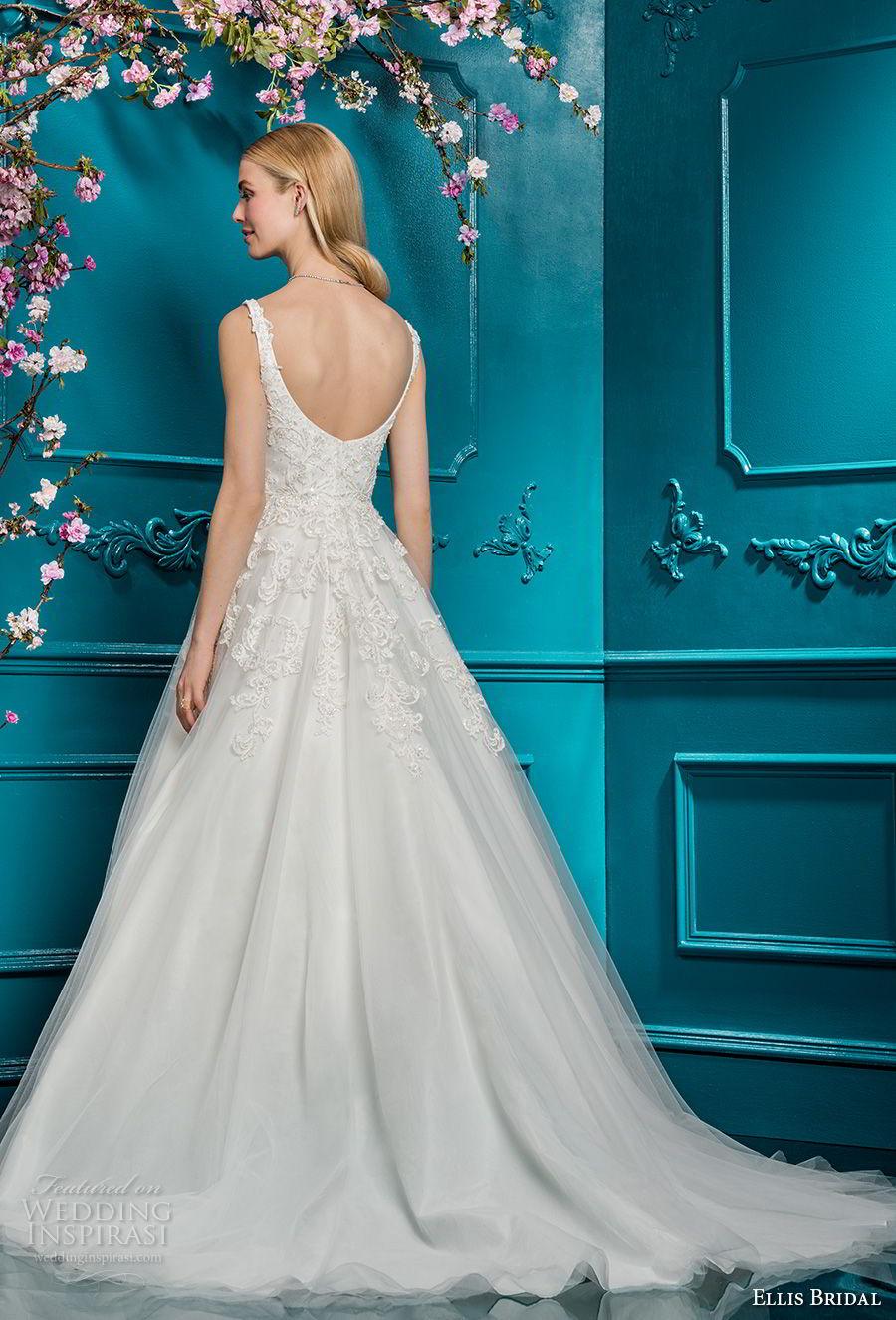 ellis bridals 2018 sleeveless scoop neck heavily embellished bodice romantic a  line wedding dress open scoop back chapel train (11) bv