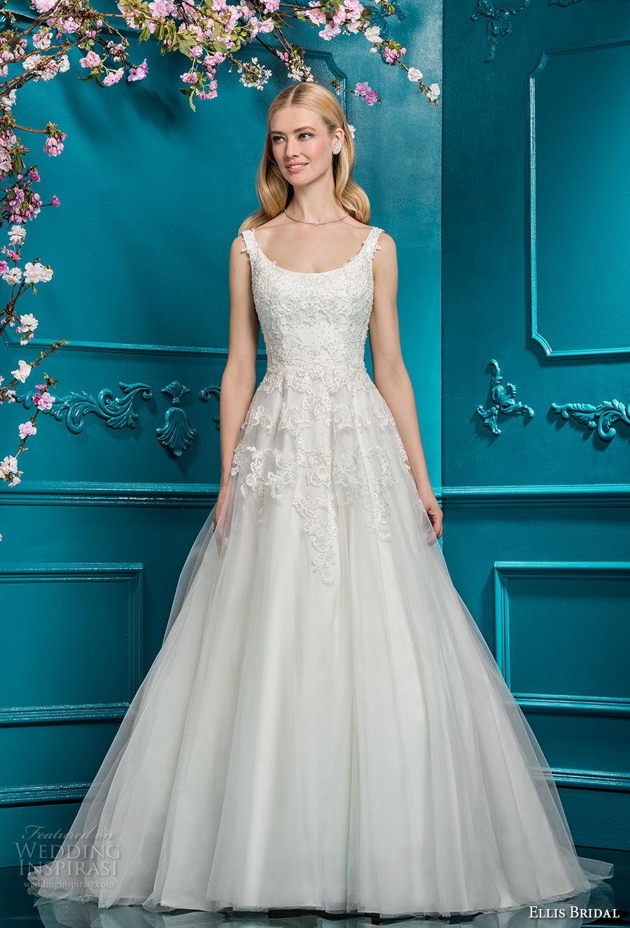 ellis bridals 2018 sleeveless scoop neck heavily embellished bodice romantic a  line wedding dress open scoop back chapel train (11) mv
