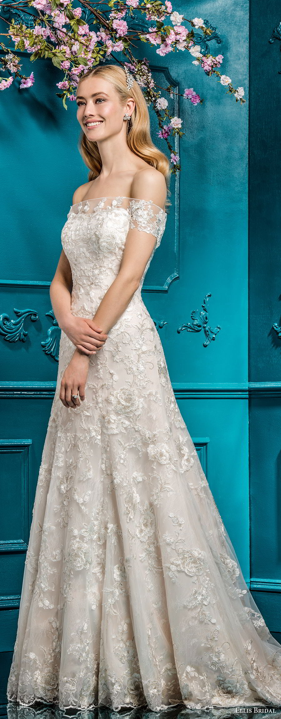 ellis bridals 2018 strapless straight across neckline full embellishment romantic elegant a  line wedding dress chapel train (3) mv