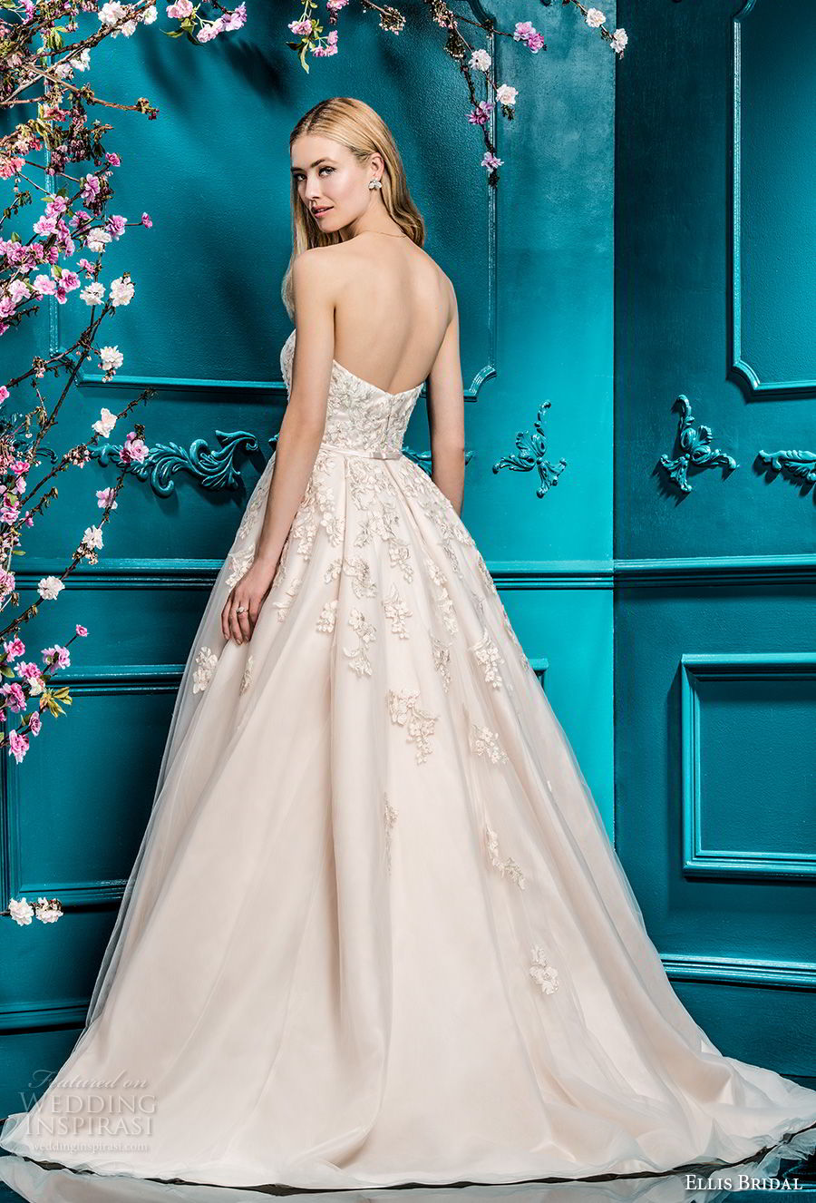ellis bridals 2018 strapless sweetheart neckline heavily embellished bodice romantic a line wedding dress with pockets chapel train (1) bv