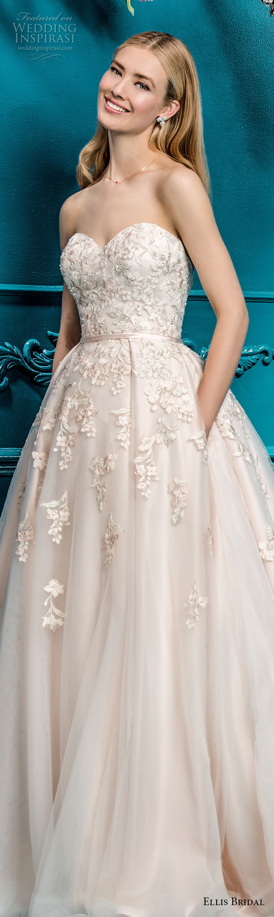 ellis bridals 2018 strapless sweetheart neckline heavily embellished bodice romantic a  line wedding dress with pockets chapel train (1) lv