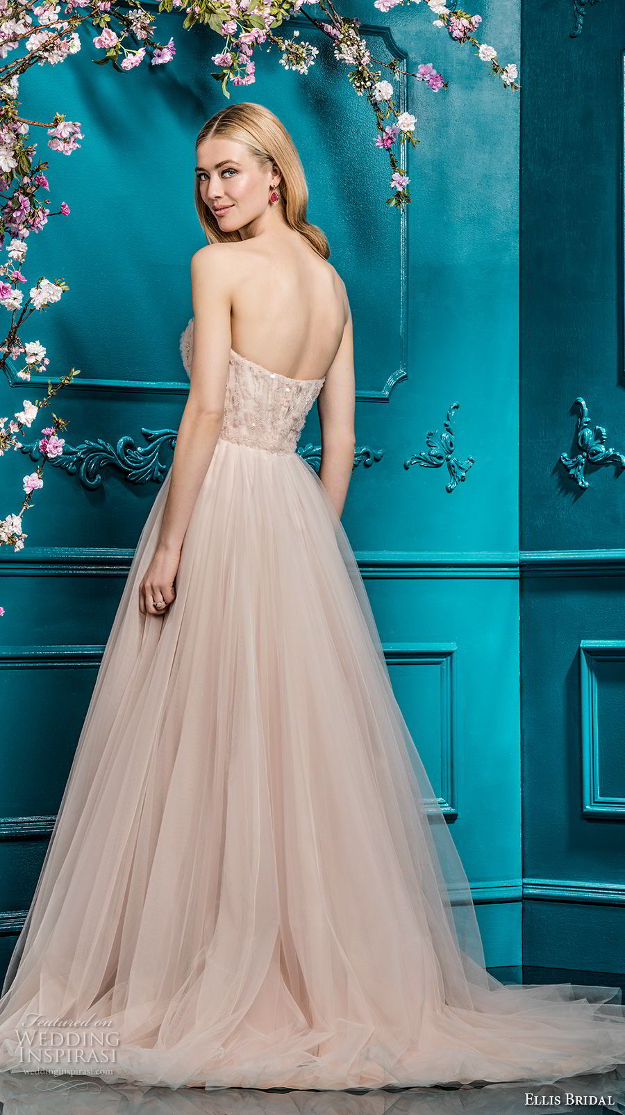 ellis bridals 2018 strapless sweetheart neckline heavily embellished bodice tulle skirt blush color a  line wedding dress chapel train (8) bv