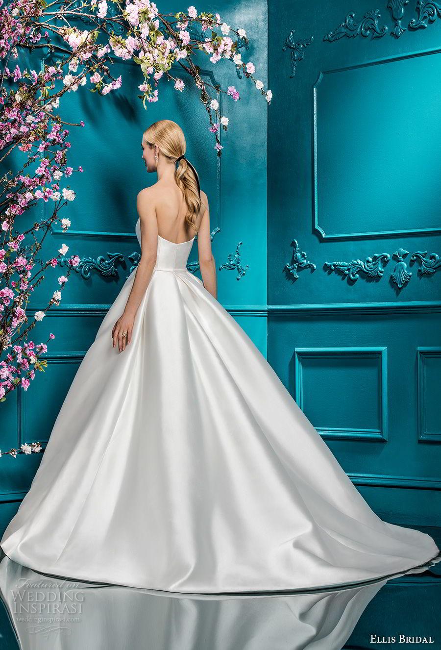 ellis bridals 2018 strapless sweetheart neckline simple clean satin skirt romantic princess ball gown a  line wedding dress chapel train (19) bv