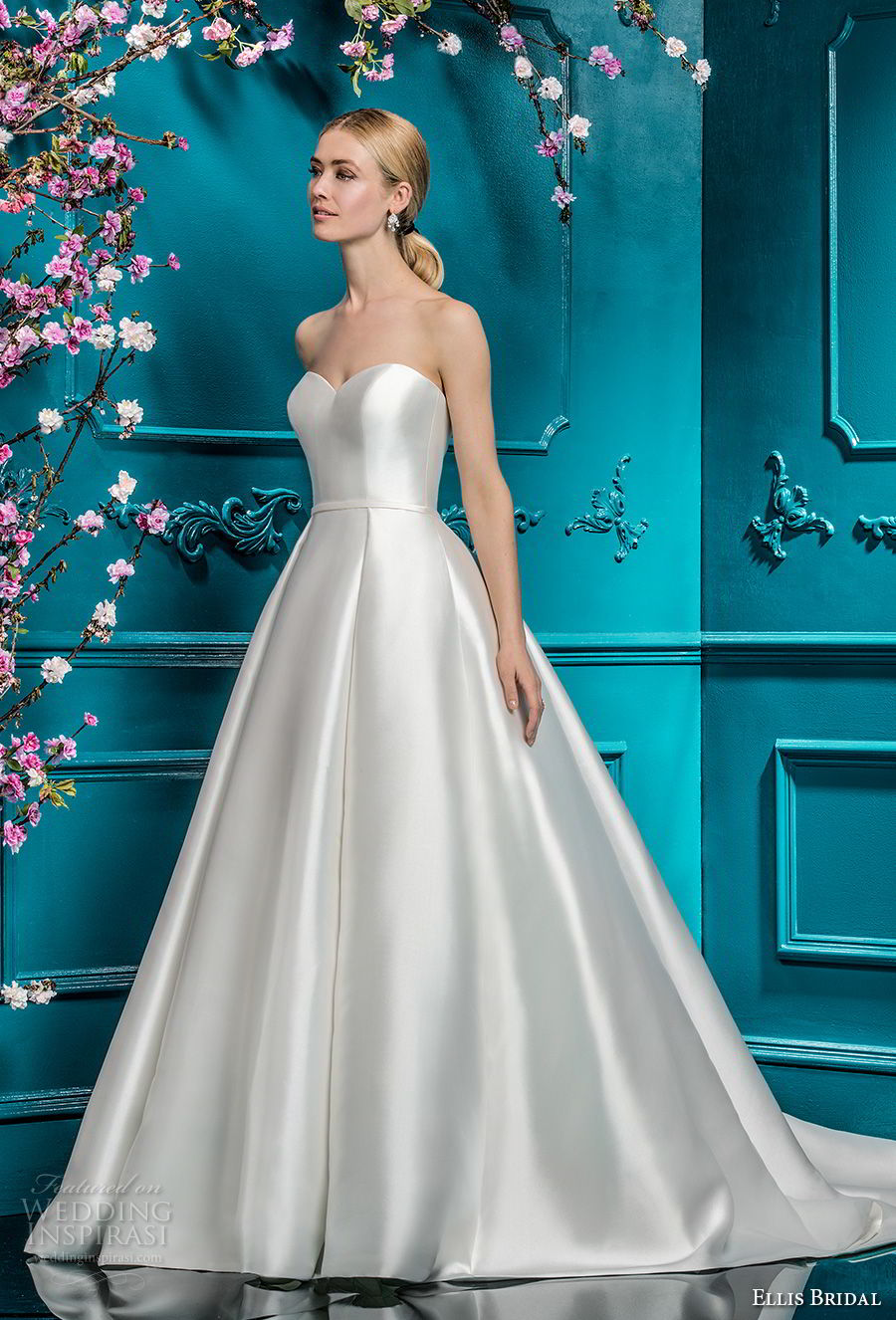 ellis bridals 2018 strapless sweetheart neckline simple clean satin skirt romantic princess ball gown a  line wedding dress chapel train (19) mv