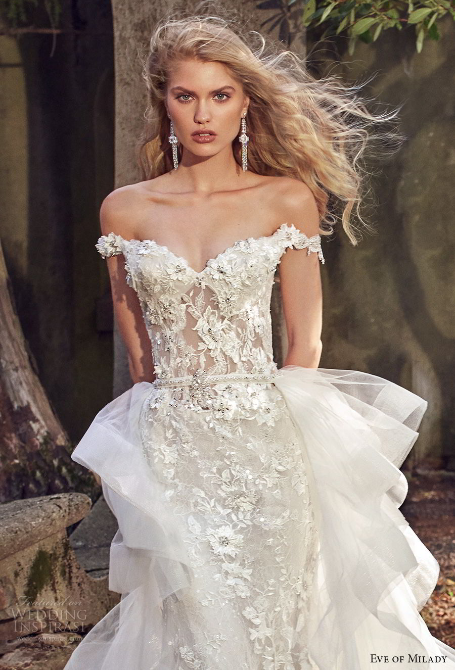 eve of milady spring 2018 bridal off the shoulder sweetheart neckline full embellishment romantic princess fit and flare wedding dress a line overskirt open back royal chapel train (1) zv