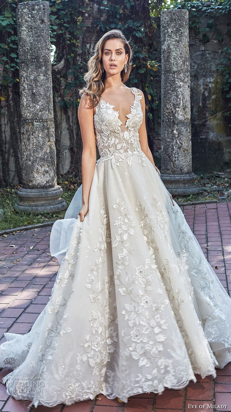 eve of milady spring 2018 bridal sleeveless deep v neck full embellishment romantic princess a line wedding dress open back chapel train (2) mv