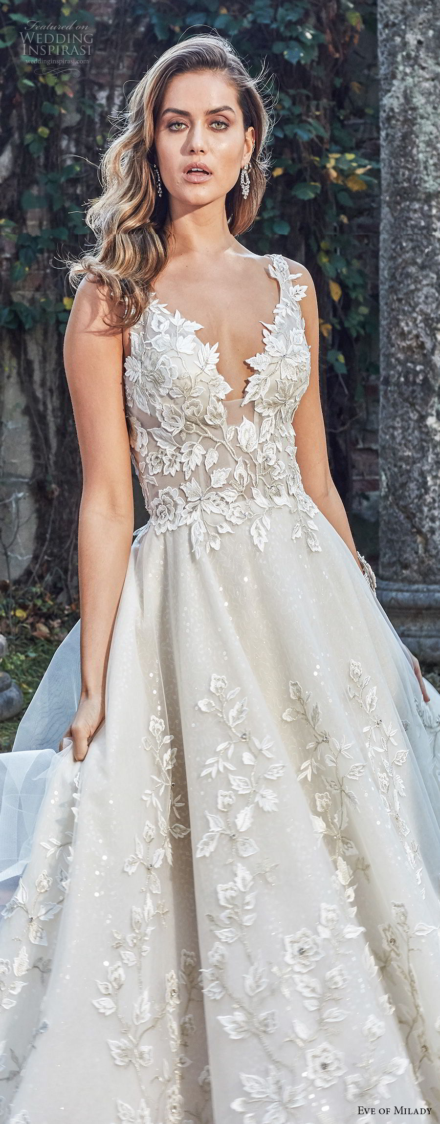 eve of milady spring 2018 bridal sleeveless deep v neck full embellishment romantic princess a line wedding dress open back chapel train (2) zv