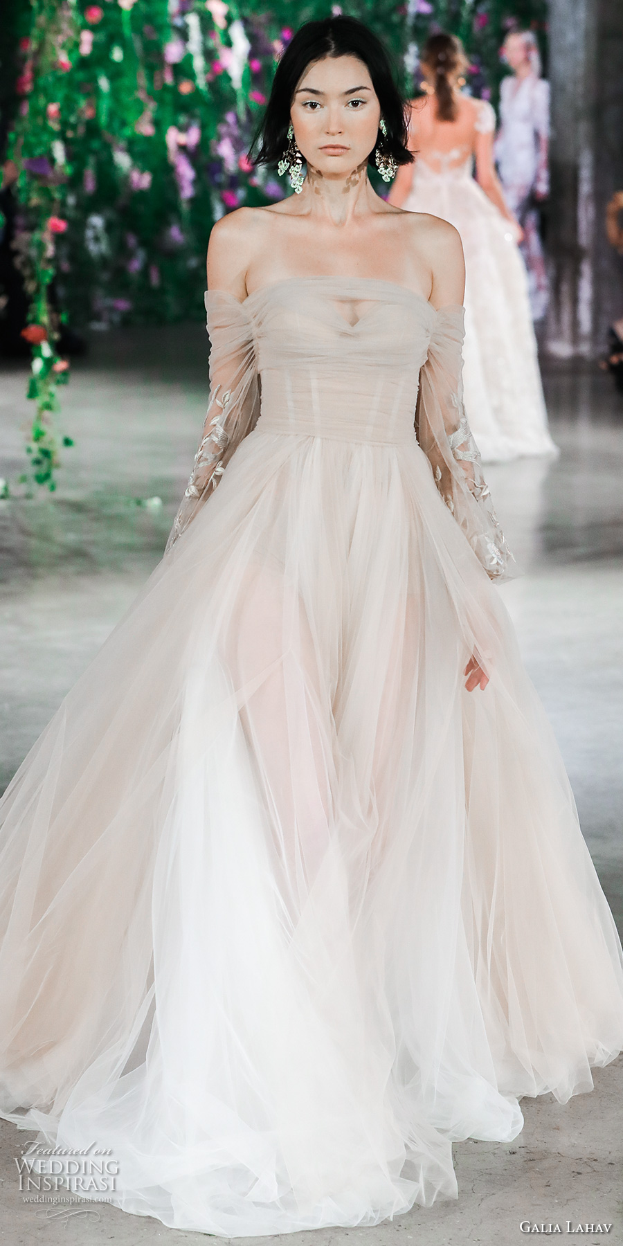 galia lahav fall 2018 bridal long sleeves off the shoulder ruched bodice romantic blush color a line wedding dress (7) mv