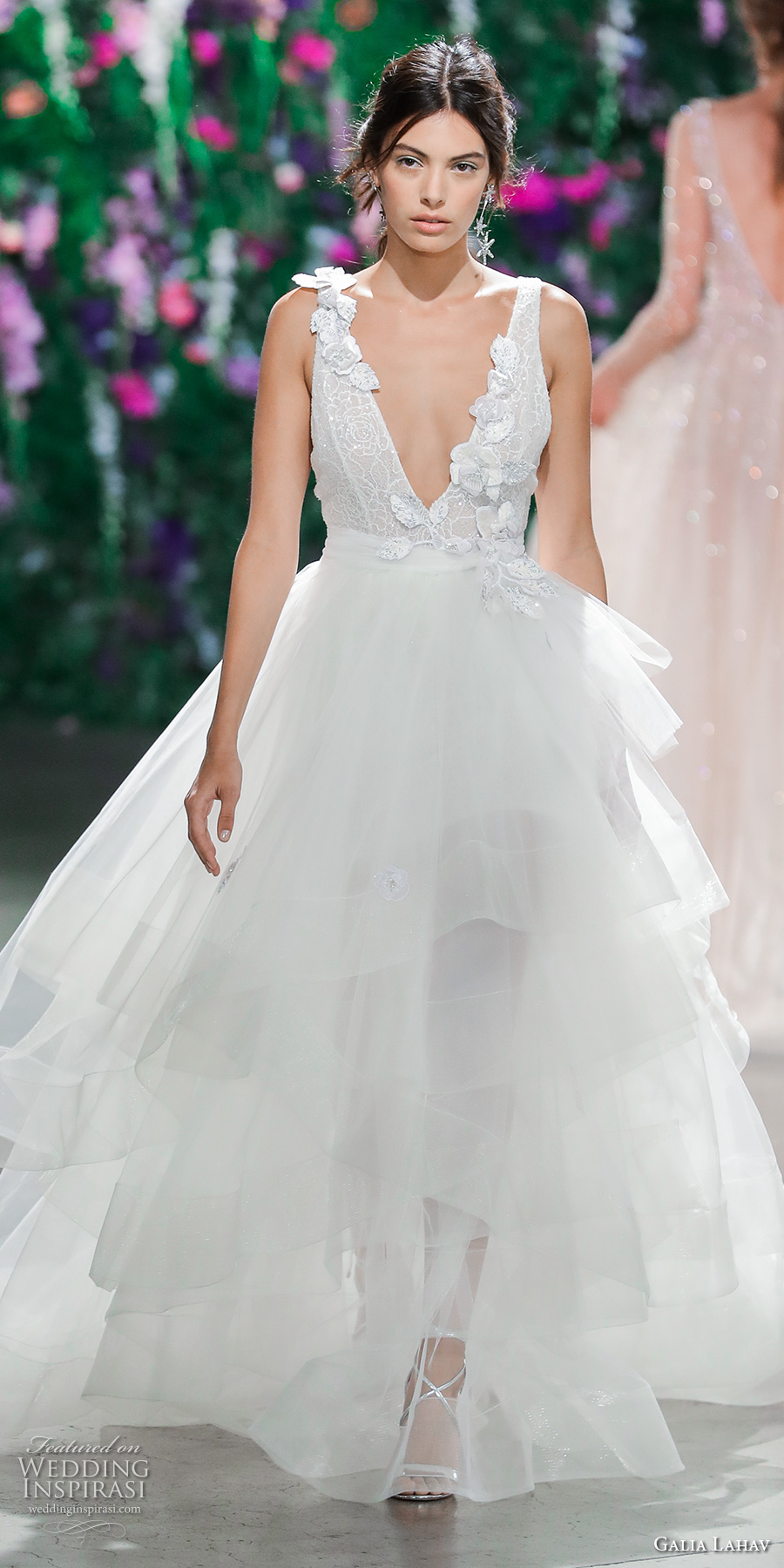 galia lahav fall 2018 bridal sleeveless deep v neck heavily embellished bodice tulle skirt layered skirt ball gown a line wedding dress (13) mv