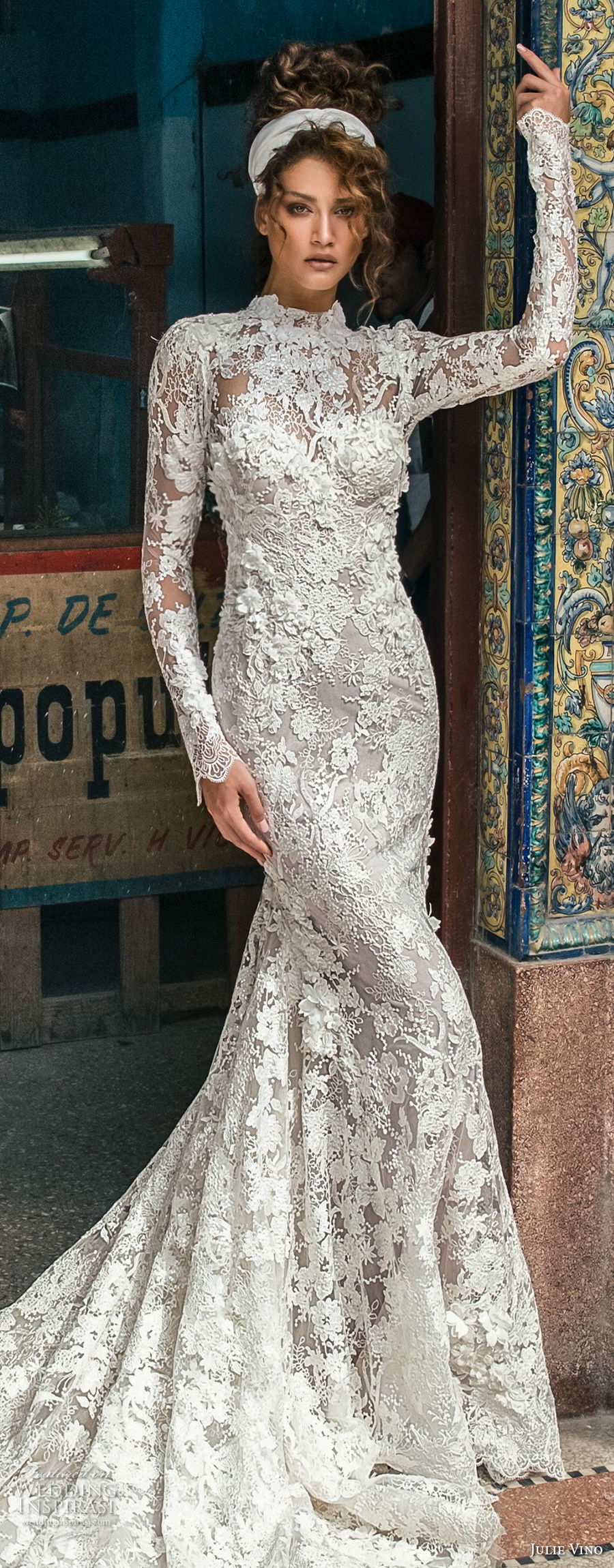julie vino fall 2018 havana long sleeves high neck full embellishment elegant modest fit and flare wedding dress covered lace back long train (11) lv