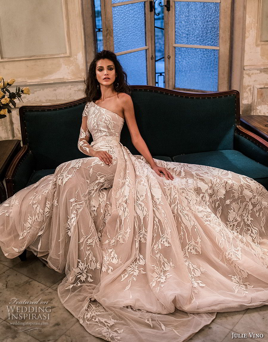 julie vino fall 2018 havana long sleeves one shoulder full embellishment romantic elegant ball gown a line wedding dress chapel train (15) mv