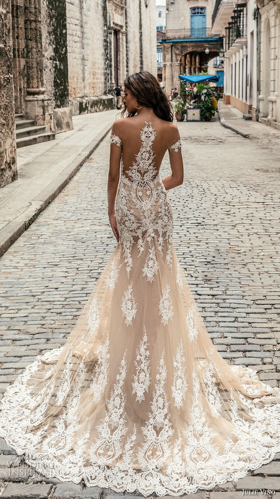 julie vino fall 2018 havana off the shoulder deep plunging sweetheart neckline full embellishment elegant sexy blush color fit and flare wedding dress razor back chapel train (4) bv