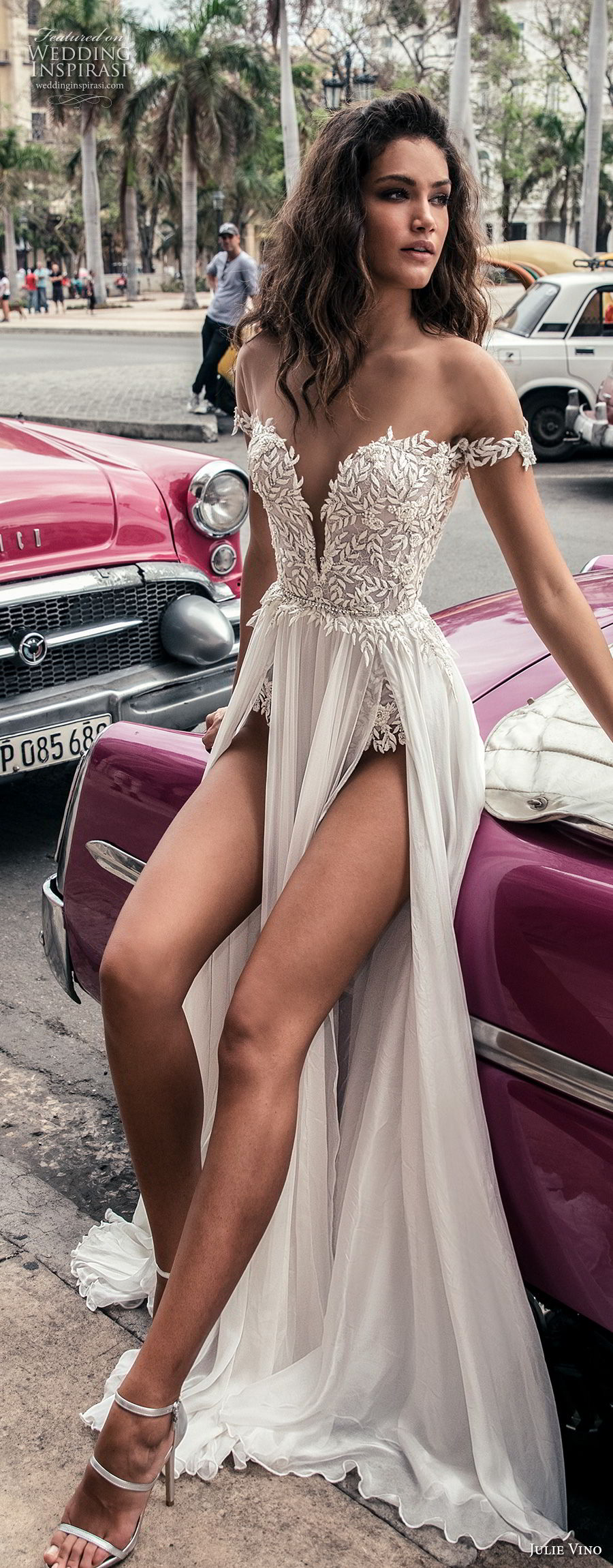 julie vino fall 2018 havana off the shoulder deep plunging sweetheart neckline heavily embellished bodice double slit skirt romantic sexy soft a line wedding dress sweep train (16) mv