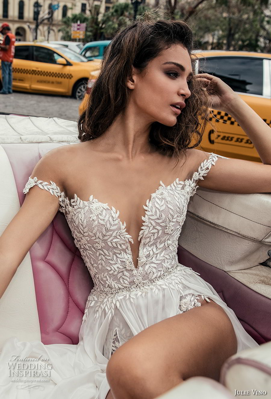 julie vino fall 2018 havana off the shoulder deep plunging sweetheart neckline heavily embellished bodice double slit skirt romantic sexy soft a line wedding dress sweep train (16) zv