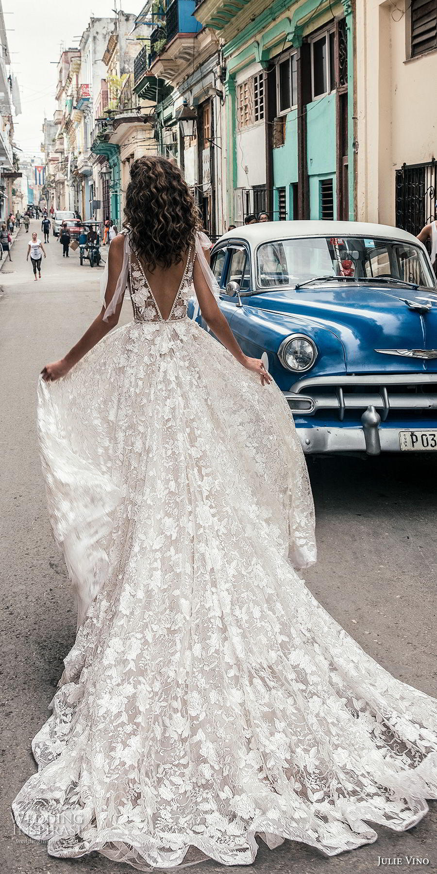 julie vino fall 2018 havana sleeveless deep plunging neckline full embellishment sexy romantic soft a line wedding dress open v back chapel train (5) bv