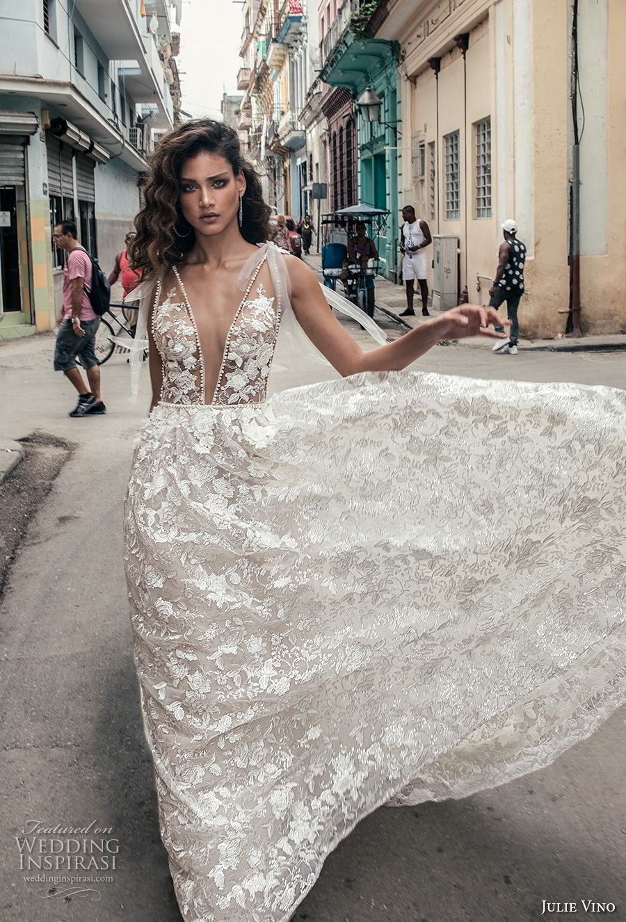 julie vino fall 2018 havana sleeveless deep plunging neckline full embellishment sexy romantic soft a line wedding dress open v back chapel train (5) mv