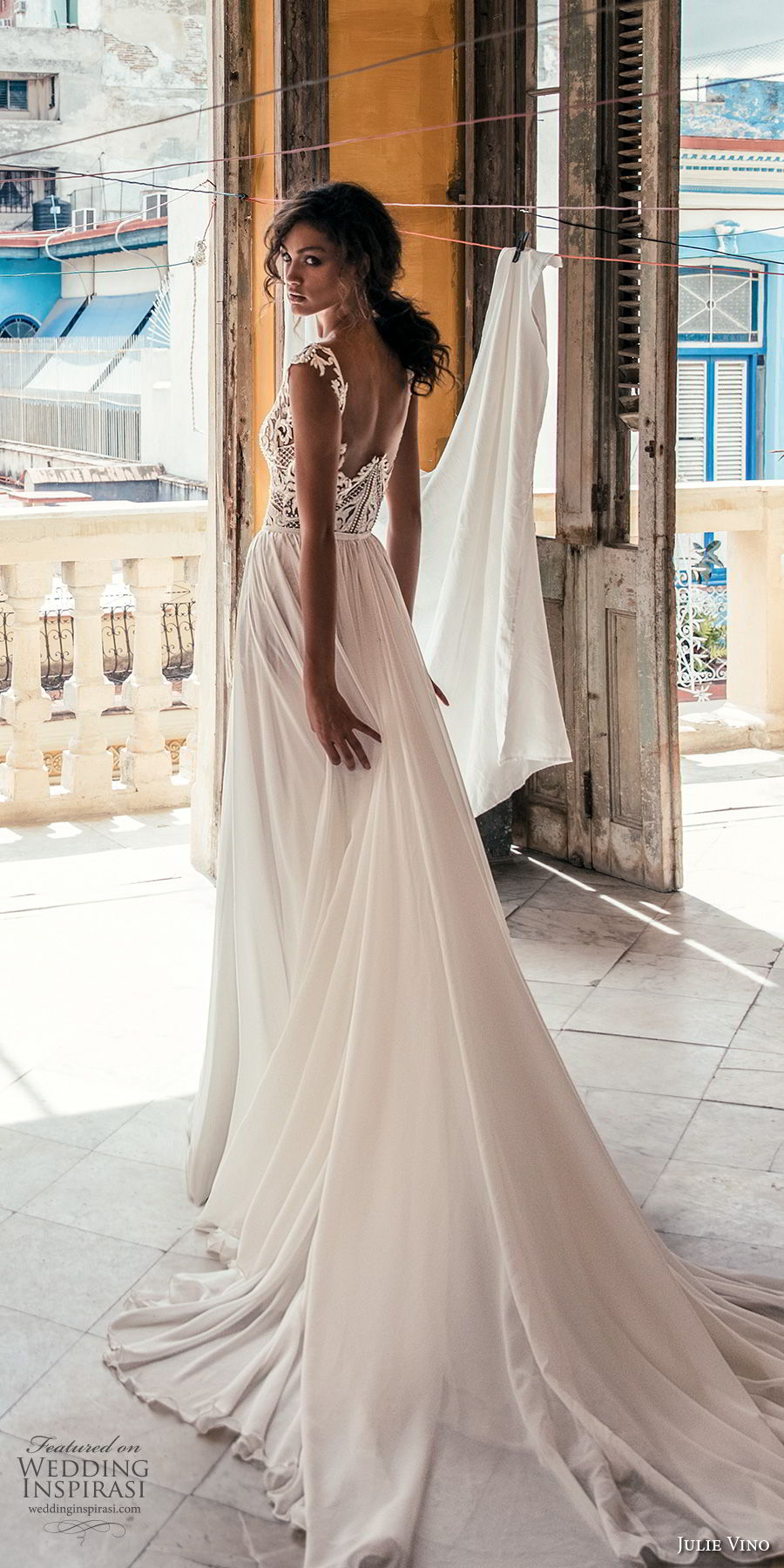 julie vino fall 2018 havana sleeveless deep v neck heavily embellished bodice high slit skirt romantic sexy soft a line wedding dress sweep train (17) bv